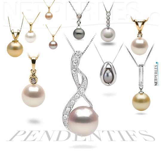 Pendentifs de perles de culture, perles akoyo, perles d'eau douce, perles de tahiti, perles dorees