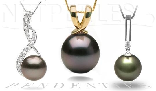 Pendentifs en Or et Perle noires, pendentifs de perles de tahiti, colliers une perle noires