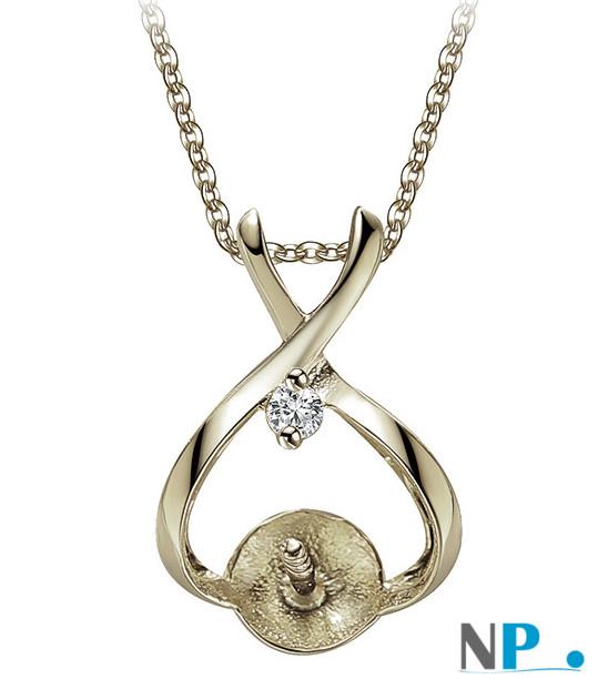 Appret en Argent 925 avec zirconium, bélière pour pendentif de perle de culture (perle non incluse)
