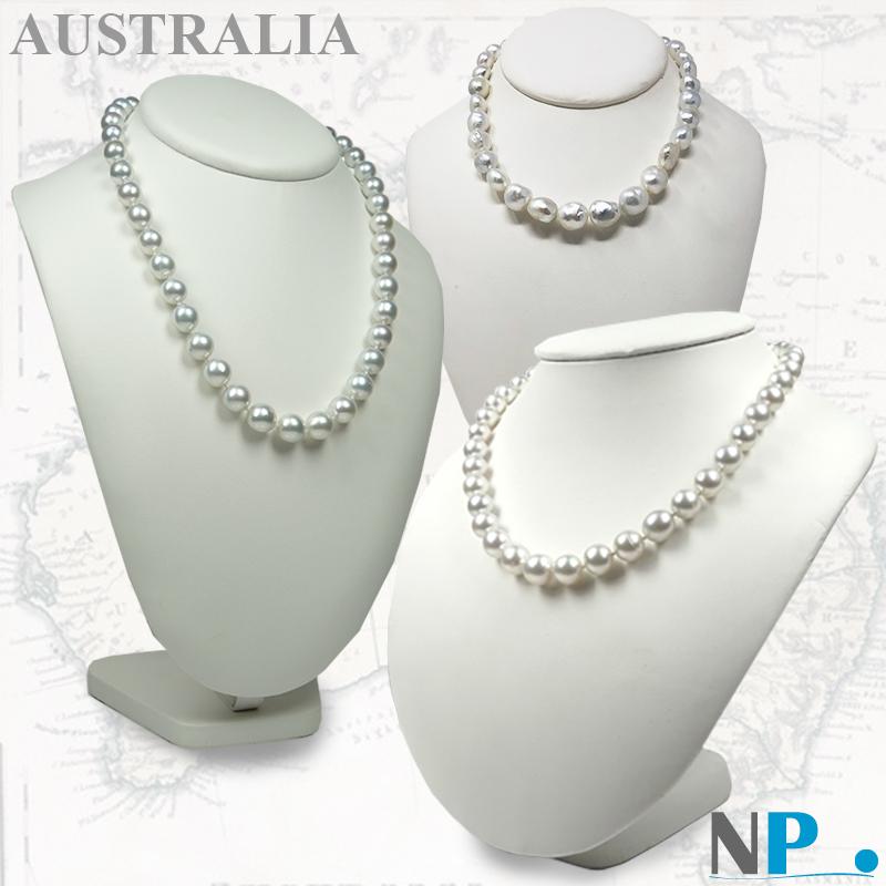 Perle d'australie, perle blanche argentees, collier de perles blanches, reflets argentes