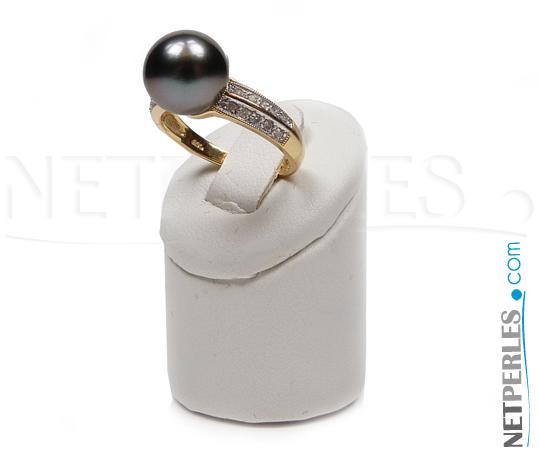 Bague Or et diamants avec perle de Tahiti