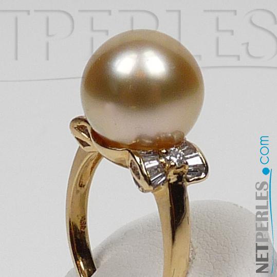 Bague Cecile avec perle dorée d'Australie