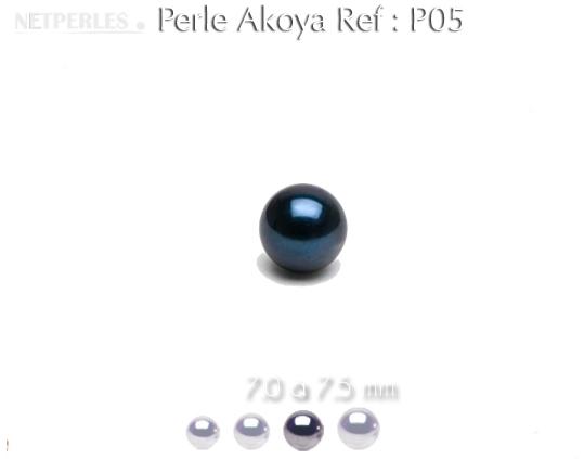 perle de culture d'akoya noire sem percee qualité AA+ 7,0 à 7,5 mm