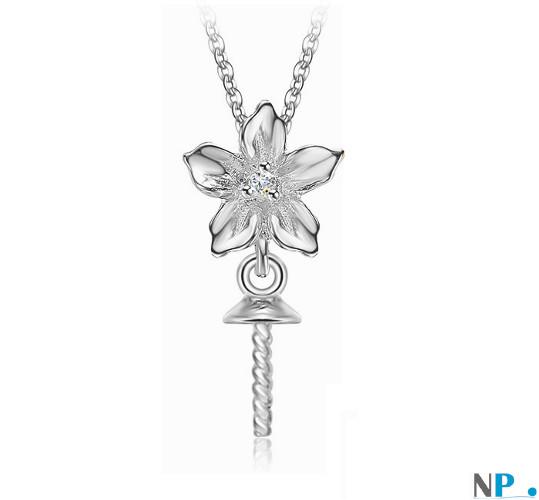 Appret en Or Gris avec diamant, bélière pour pendentif de perle de culture (perle non incluse)