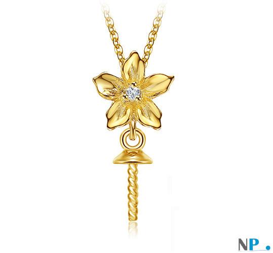 Appret de bijouterie pour pendentif de perle de culture en Or Jaune 9k et diamant