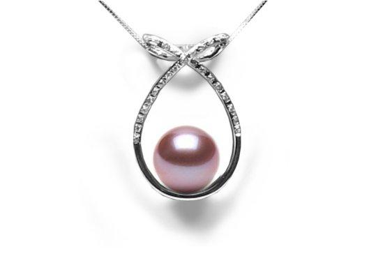 Pendentif en Or gris diamants et perle d'eau douce lavande