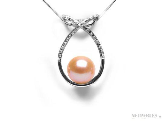 Pendentif en Or gris diamants et perle d'eau douce pêche