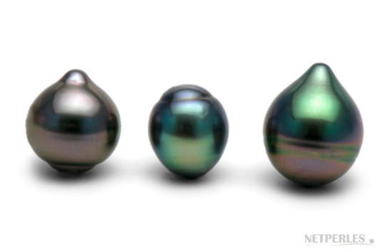 Perles de Tahiti en forme goutte ou poire