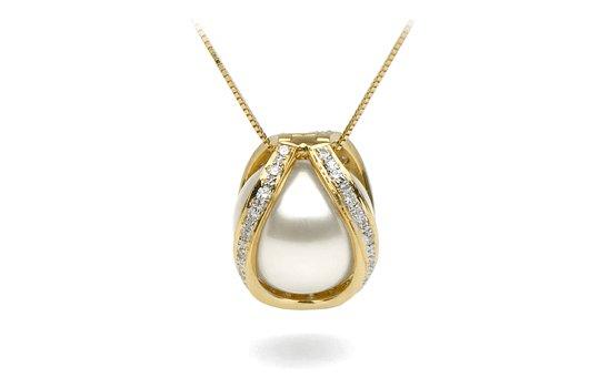 Pendentif Purete Perle d'Australie Blanche avec la cage en or jaune