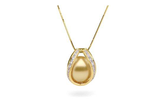 Pendentif Purete en Or Jaune avec perle d'Australie Dorée