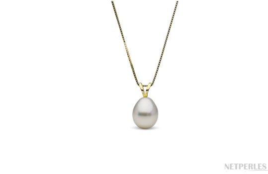 Pendentif Or Jaune avec perle d'australie blanche argentée en forme de goutte