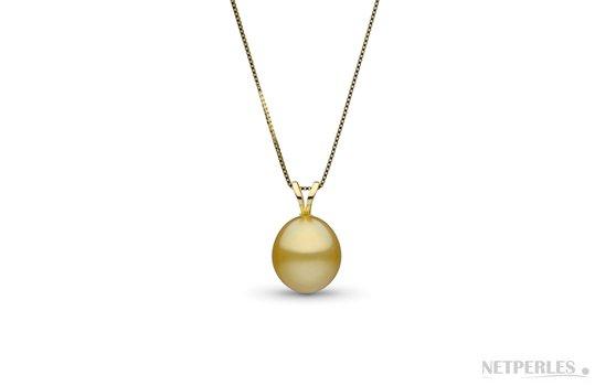 Pendentif avec perle d'australie dorée en forme de goutte