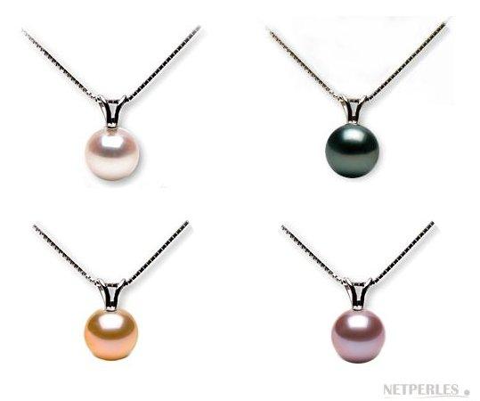 Pendentif perle d'Eau douce avec beliere Or Gris ou Jaune