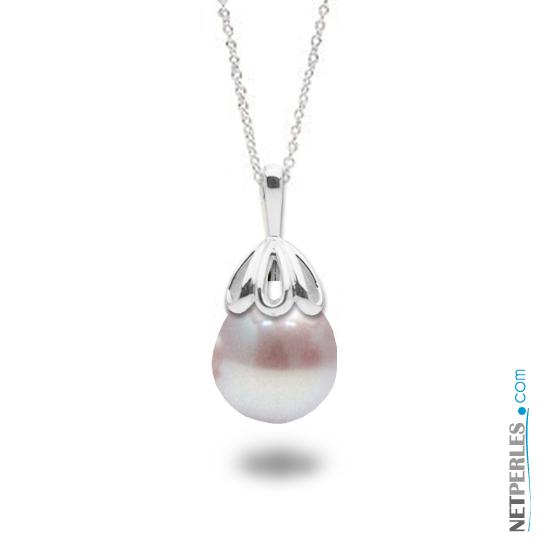 Pendentif en Or blanc 14 carats et perle d'eau douce baroque de couleur lavande