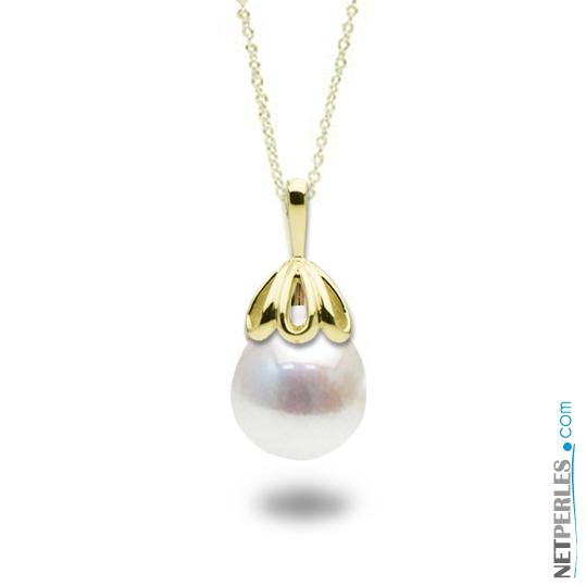Pendentif en Or avec perle blanche d'Eau Douce qualité Baroque