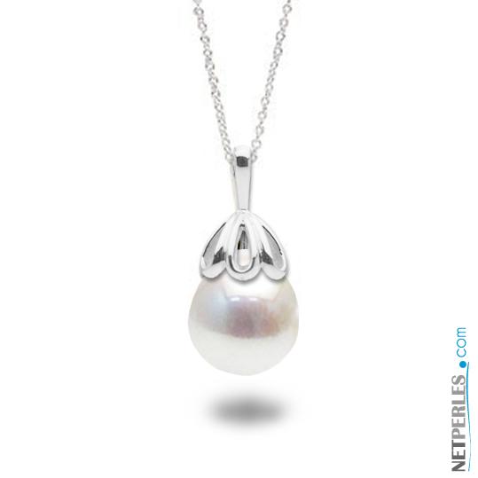 Pendentif en Or gris 14 carats et perle blanche baroque d'Eau Douce