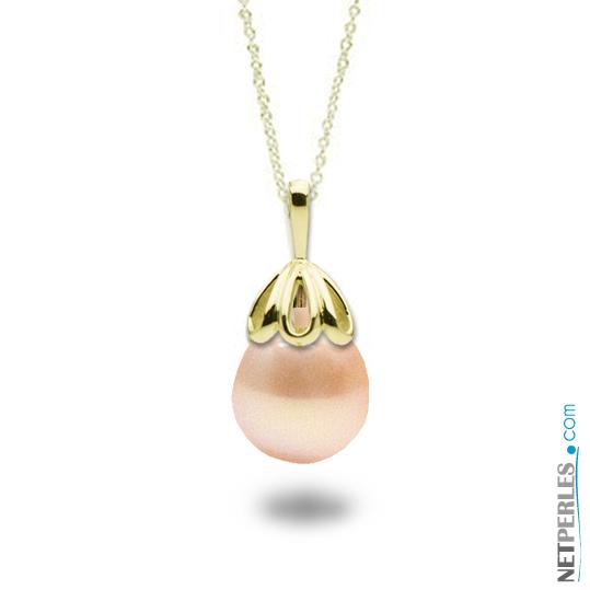 Pendentif en Or jaune 14 carats avec perle d'eau douce baroque de couleur peche