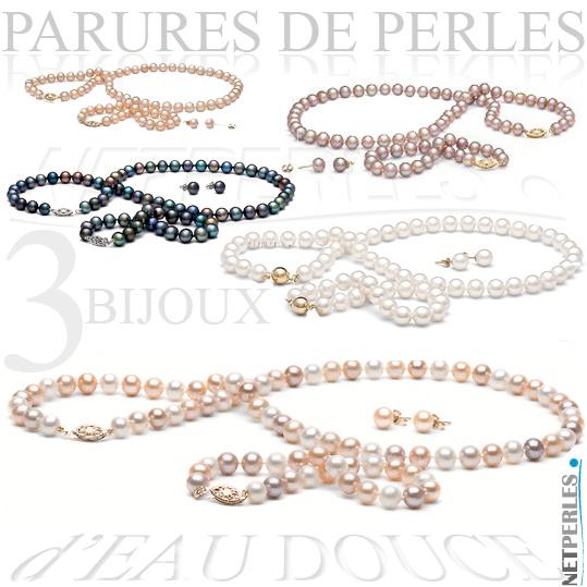 parure de perles - parure de perles 3 bjoux - collier, bracelet, boucles d'oreilles - vraies perles - perles de culture
