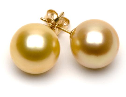 Boucles d'oreilles perles dorées d'Australie