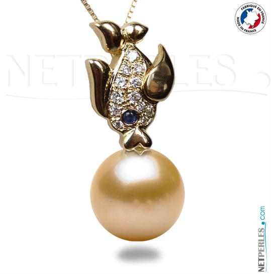 Pendentif de perle de culture d'Eau Douce qualité Doucehadama sur Belière de luxe en Or 18 carat