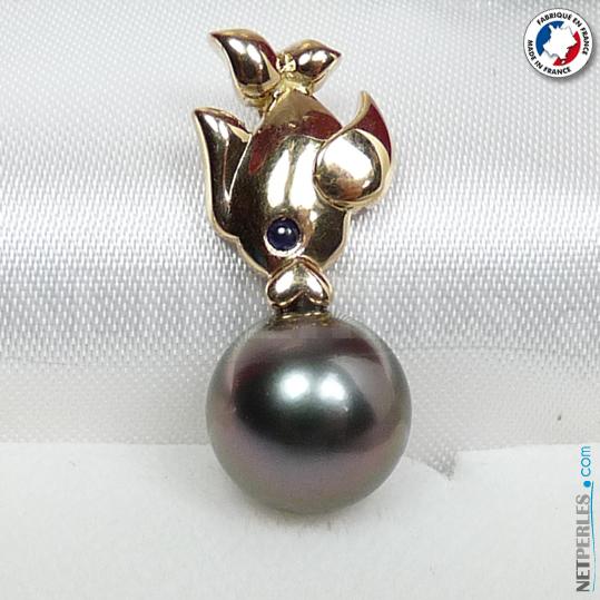 Pendentif poisson or 18 carats perle de tahiti