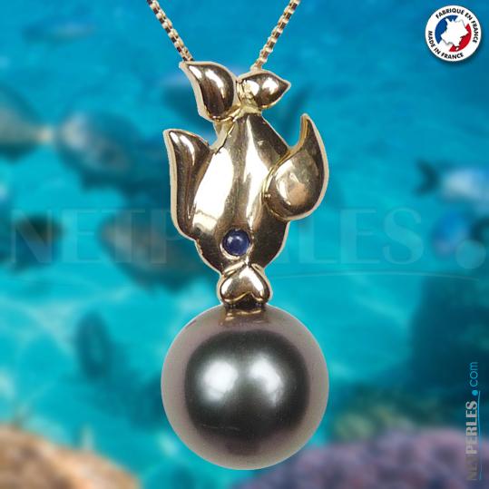 Poisson en Or 18 carats avec perle de Tahiti AAA