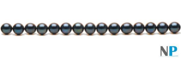 Rang de perles noirs d'eau douce