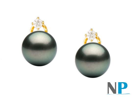 Boucles d'oreilles de Perles de Tahiti avec diamants en Or 18 carats