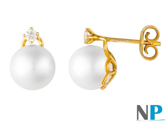 Boucles d'oreilles en Or 18k avec perles de culture d'Akoya et diamants