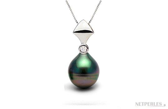 Pendentif en or gris avec diamant et perle de Tahiti goutte AAA