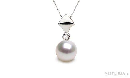 Pendentif Or Gris avec Diamant et perle d'Eau Douce blanche DOUCEHADAMA
