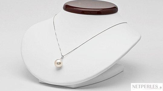 Pendentif avec perle de culture d'Australie blanche argentée