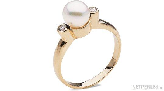 Bague en Or Jaune diamants et perle de culture d'Eau Douce DOUCEHADAMA