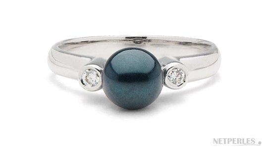 Bague Romantique, Argent 925, Diamants et Perle de culture noire d'Akoya AAA