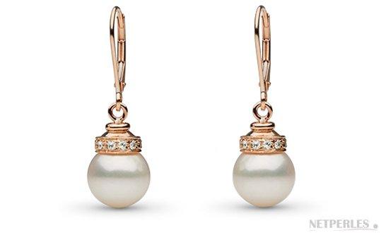 Boucles d'oreilles de perles de culture d'Australie blanches argentées avec diamants en or rose