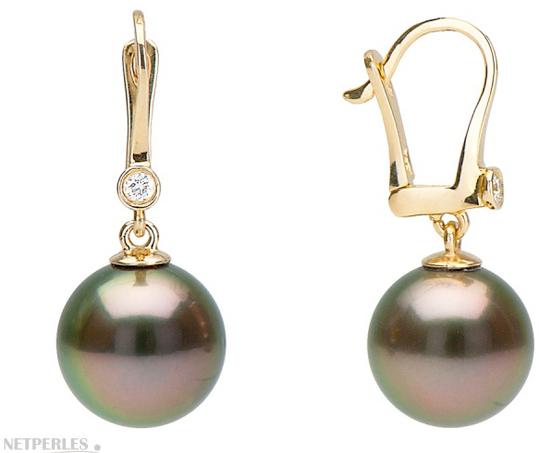 Boucles d'oreilles dormeuse avec diamant et perles de Tahiti