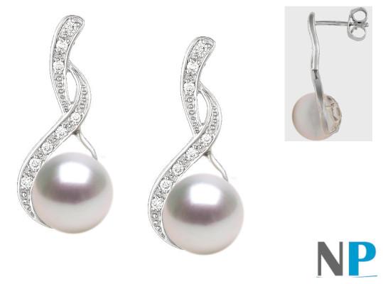 Orecchini in oro 18k con diamanti e perle di coltura Akoya