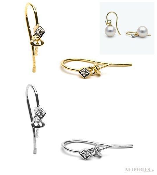 Dormeuses ouvertes pour boucles d'oreilles en or 14 carats avec diamants