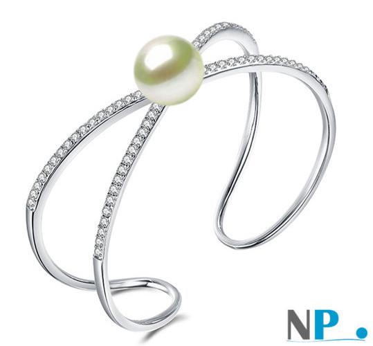 Bracelet en Argent rhodié et perle blanche d'Akoya du Japon