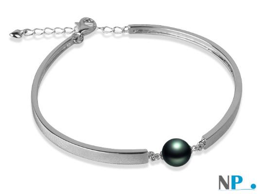 Bracelet en Argent rhodié et perle de Tahiti