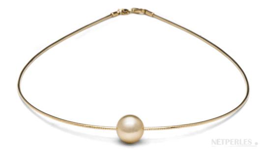 SHAULA câble en or 18k et perle d'australie dorée
