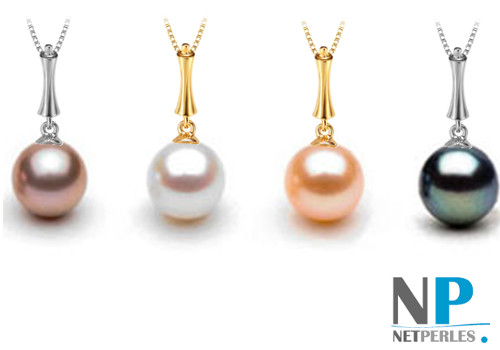 Pendentif Stylet présenté avec une perle blanche, une lavande, une rose pêche et une noire