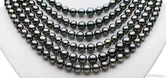 Collier de perles 6 rangs , perles de Tahiti AA/AA+