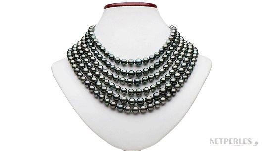 Collier 6 rangs de perles de culture de Tahiti