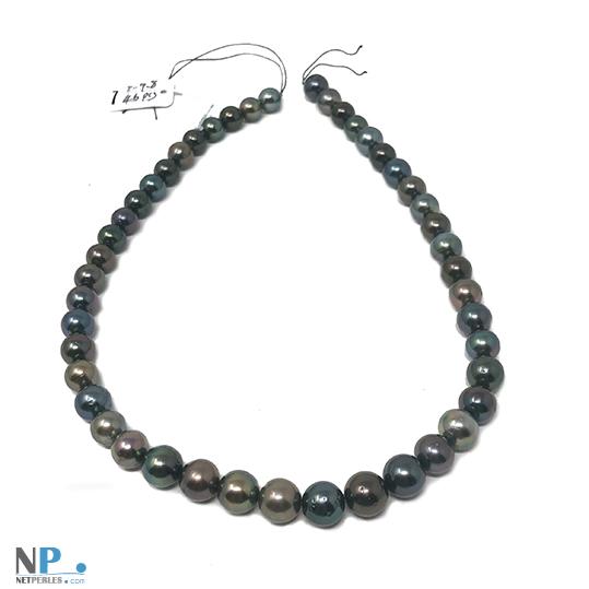 Collier de perles de tahiti en chute avec les plus grosses au milieu du rang
