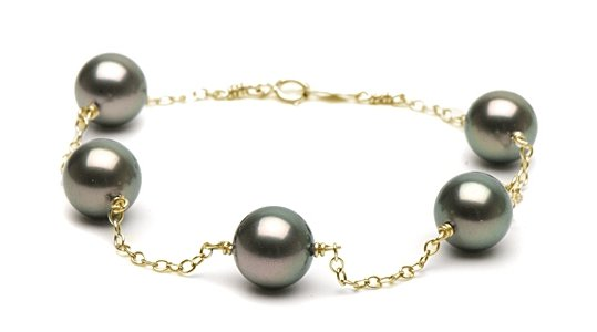 Bracelet perles de Tahiti et chaîne or jaune14k
