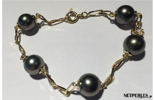 Bracelet perles noires et chaîne or jaune18k