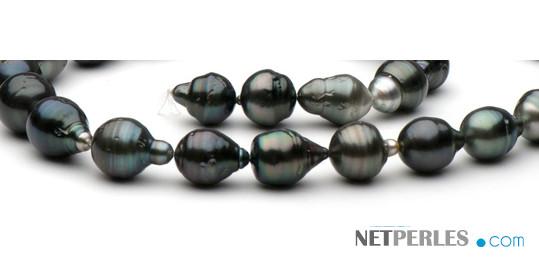 Collier 43 cm perles de Tahiti Baroques cerclées forme poire