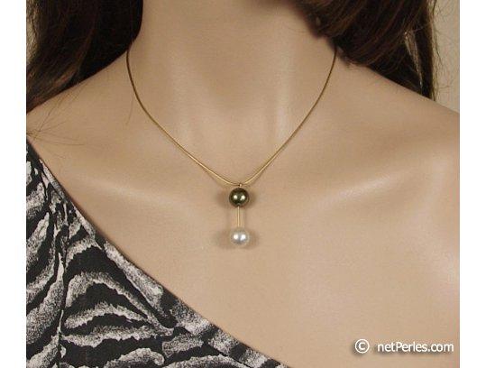 Collier Pendentif, perle d'Australie et perle de Tahiti