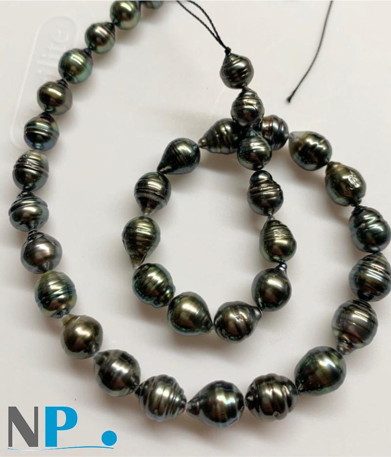 Collier de  perles de Tahiti Baroques cerclées très lumineuses et brillantes